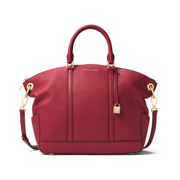 Michael Kors Beckett Large Top Zip Satchel Burnt Red