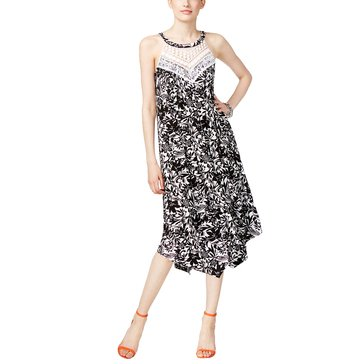 INC International Concepts Macramé Yoke Floral Print Dress in Vineyard Floral