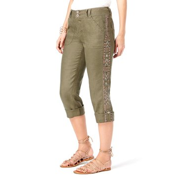 INC International Concepts Linen Crop Pant With Side Embroidery in Olive