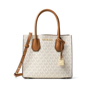 Michael Kors Mercer Medium Messenger Signature Vanilla