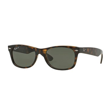Ray-Ban Unisex New Wayfarer Classic Polarized Sunglasses RB2132, Tortoise/ Green Classic G-15 52mm