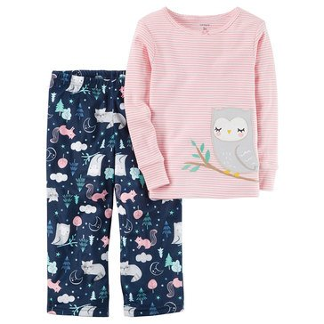 Carter's Baby Girls' 2-Piece Fleece Pajamas Set, Owl