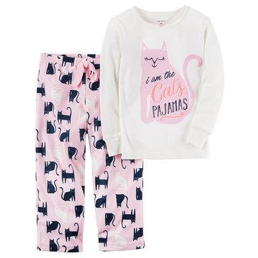 Carter's Baby Girls' 2-Piece Fleece Pajamas Set, Cat