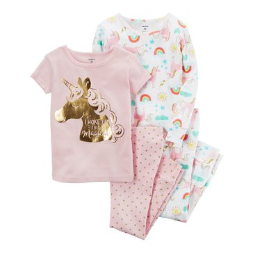 Carter's Baby Boys' 4-Piece Cotton Pajamas Set, Unicorn