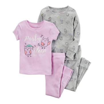 Carter's Baby Girls' 4-Piece Cotton Pajamas Set, Owl