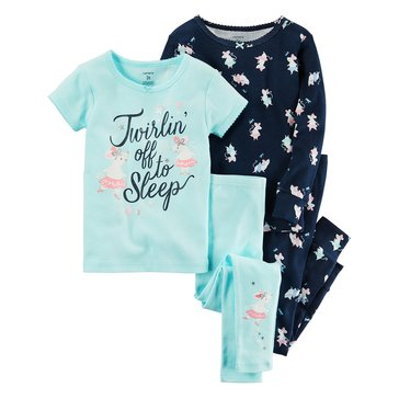 Carter's Baby Girls' 4-Piece Cotton Pajamas Set, Ballerina