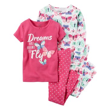 Carter's Baby Girls' 4-Piece Pajamas Set, Butterfly