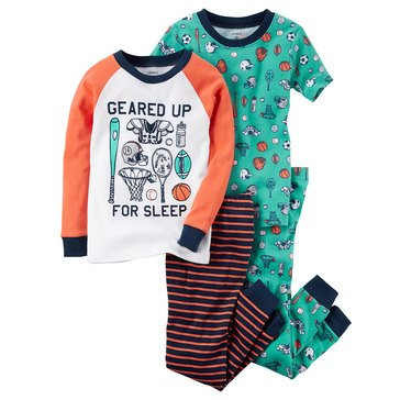 Carter's Baby Boys' 4-Piece Cotton Pajamas Set, Sports