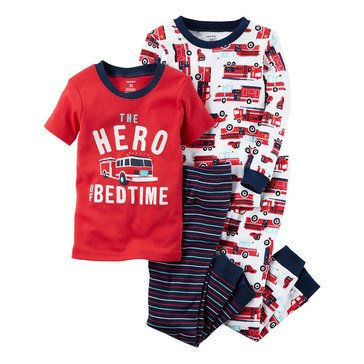 Carter's Baby Boys' 4-Piece Cotton Pajamas Set, Firetruck