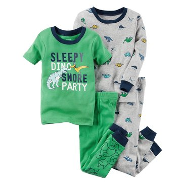 Carter's Baby Boys' 4-Piece Cotton Pajamas Set, Dino Snore Party