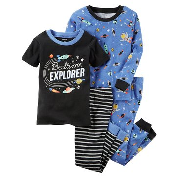 Carter's Baby Boys' 4-Piece Cotton Pajamas Set, Space