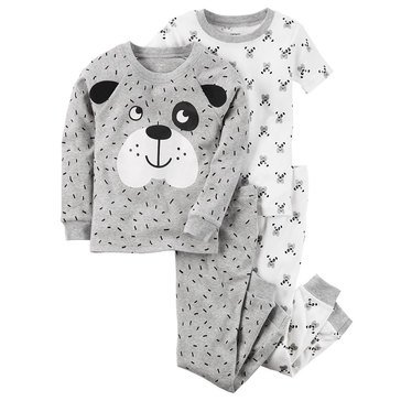 Carter's Baby Boys' 4-Piece Cotton Pajamas Set, Dog Face