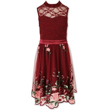 Speechless Big Girls' Social Lace Bodice Heavy Emblem Chiffon Dress, Wine/Rose