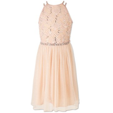 Speechless Big Girls' Social Sequin Lace Bodice Chiffon Dress, Dusty Blush