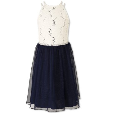 Speechless Big Girls' Social Sequin Lace Bodice Chiffon Dress, Ivory/Navy