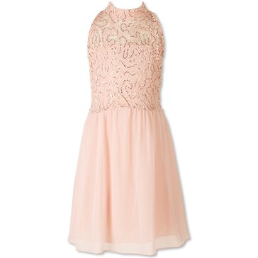 Speechless Big Girls' Social Sequin Bodice Chiffon Dress, Peach Pink