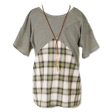 Speechless Big Girls' Stripe Knit Popover Plaid Top, Olive Ivory