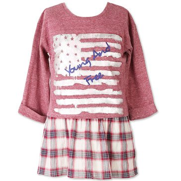 Speechless Big Girls' Young & Free Plaid Top, Navy/Red
