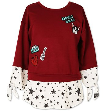 Speechless Big Girls' Patches Star Woven Top, Burgundy