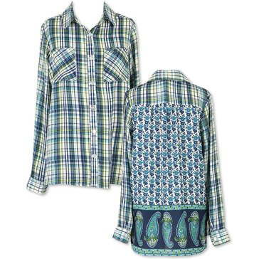 Speechless Big Girls' Plaid Challis Print Top, Navy/Teal