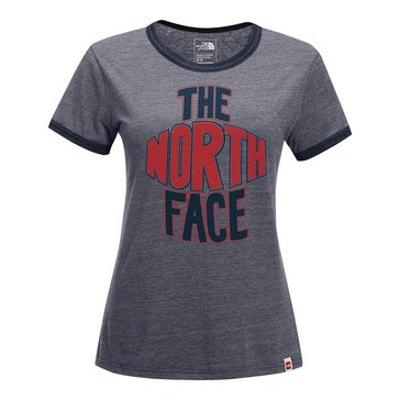 The North Face Women's Short Sleeve Slim Fit  Ringer Tee with Logo in Grey/Red