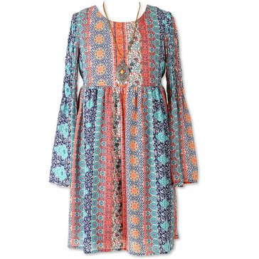 Speechless Big Girls' Print Bell Sleeve Dress, Orange/Navy