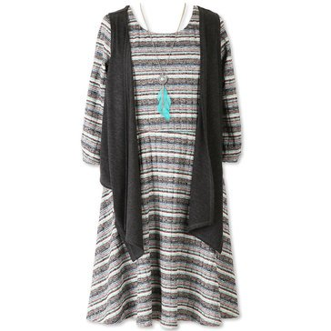Speechless Big Girls' Stripe Knit Dress W/Vest, Black/Aqua
