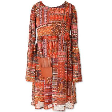 Speechless Big Girls' Print Bell Sleeve Dress, Mango