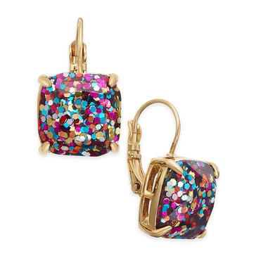 Kate Spade Multi Glitter Small Square Leverback Earrings, Gold