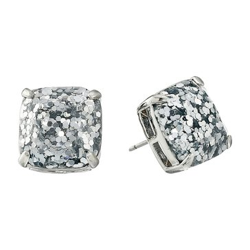 Kate Spade Silver Glitter Small Square Stud Earrings, Silver