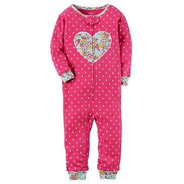 Carter's Toddler Girls' Dot Heart Footless Pajamas