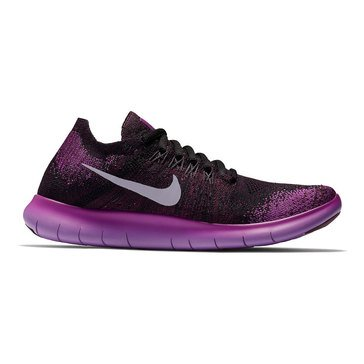 Nike Free RN Flyknit 2017 Women's Running Shoe - Black / Dark Raisin / Deadly Pink