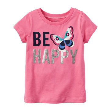 Carter's Toddler Girls' Be Happy Tee, Pink
