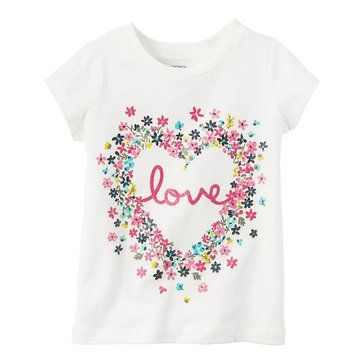 Carter's Toddler Girls' Love Flower Heart Tee, White