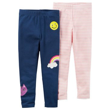 Carter's Toddler Girls' 2-Pack Solid/Stripe Leggings