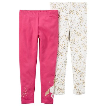 Carter's Toddler Girls' 2-Pack Print/Solid Leggings