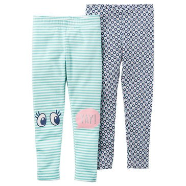 Carter's Toddler Girls' 2-Pack Print/Stripe Leggings