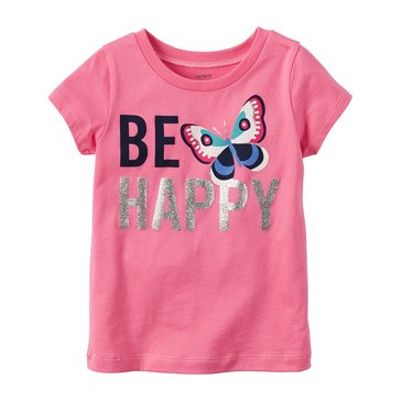 Carter's Little Girls' Be Happy Tee, Pink