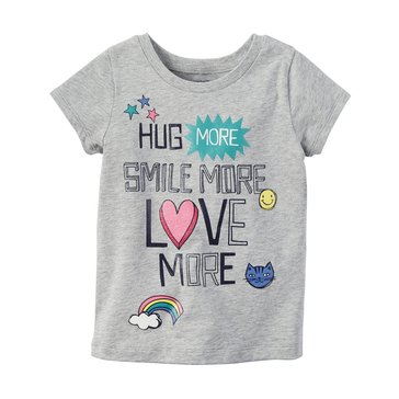 Carter's Little Girls' Hugs Smile Tee, Grey