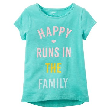 Carter's Little Girls' Happy In Family Tee, Turquoise