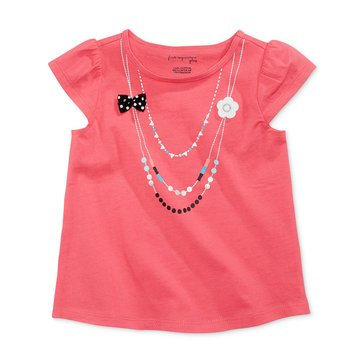 First Impressions Baby Girls' Necklace Tee, Coral Sunrise