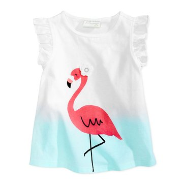 First Impressions Baby Girls' Flamingo Flutter Tee, Bright White