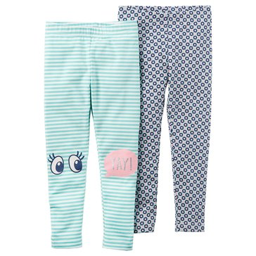 Carter's Little Girls' 2-Pack Print/Stripe Leggings