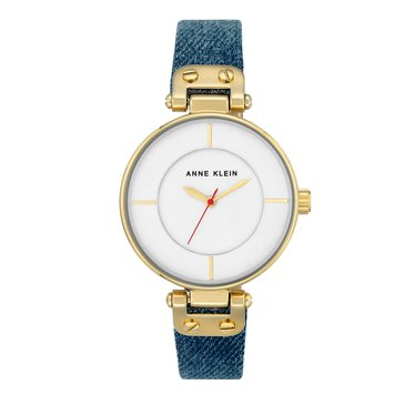 Anne Klein Women's Watch, Gold/ Denim Strap 34mm