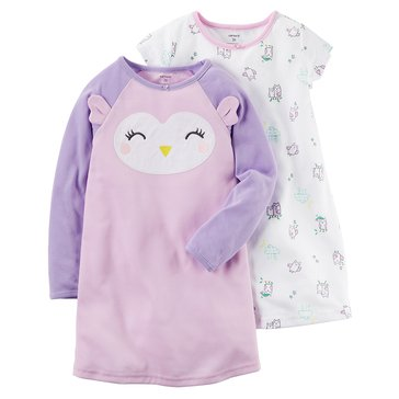 Carter's Little Girls' 2-Pack Owl Gown Set