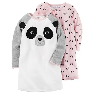 Carter's Little Girls' 2-Pack Panda Gown Set
