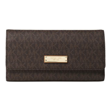 Michael Kors Jet Set Item Checkbook Wallet Brown