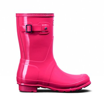 Hunter Women's Original Short Gloss Rainboot Bright Pink