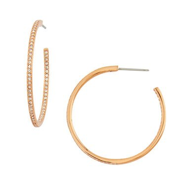 Nadri Medium Pave Hoop Earrings, Rose Gold Tone