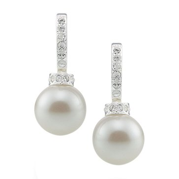 Carolee The Megan Crystal and Sim Pearl Hoop Pierced Earrings
